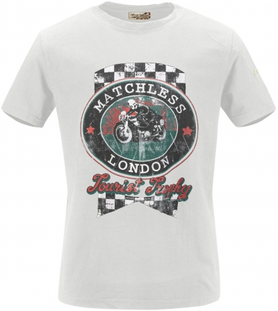 MATCHLESS TT T-SHIRT PATCH WHITE
